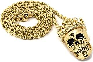 Mens Hip Hop Gold Plated King Head Skull Pendant 24