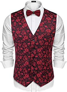 COOFANDY Men's Classic Paisley Suit Vest Slim Fit Floral Jacquard Waistcoat Wedding Party Tuxedo Vest