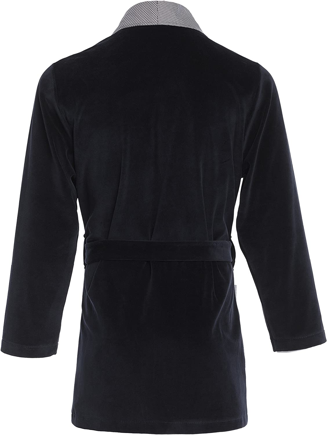 with Embroidered Pocket Revise RE-111 Short Dressing Gown Smoking Jacket