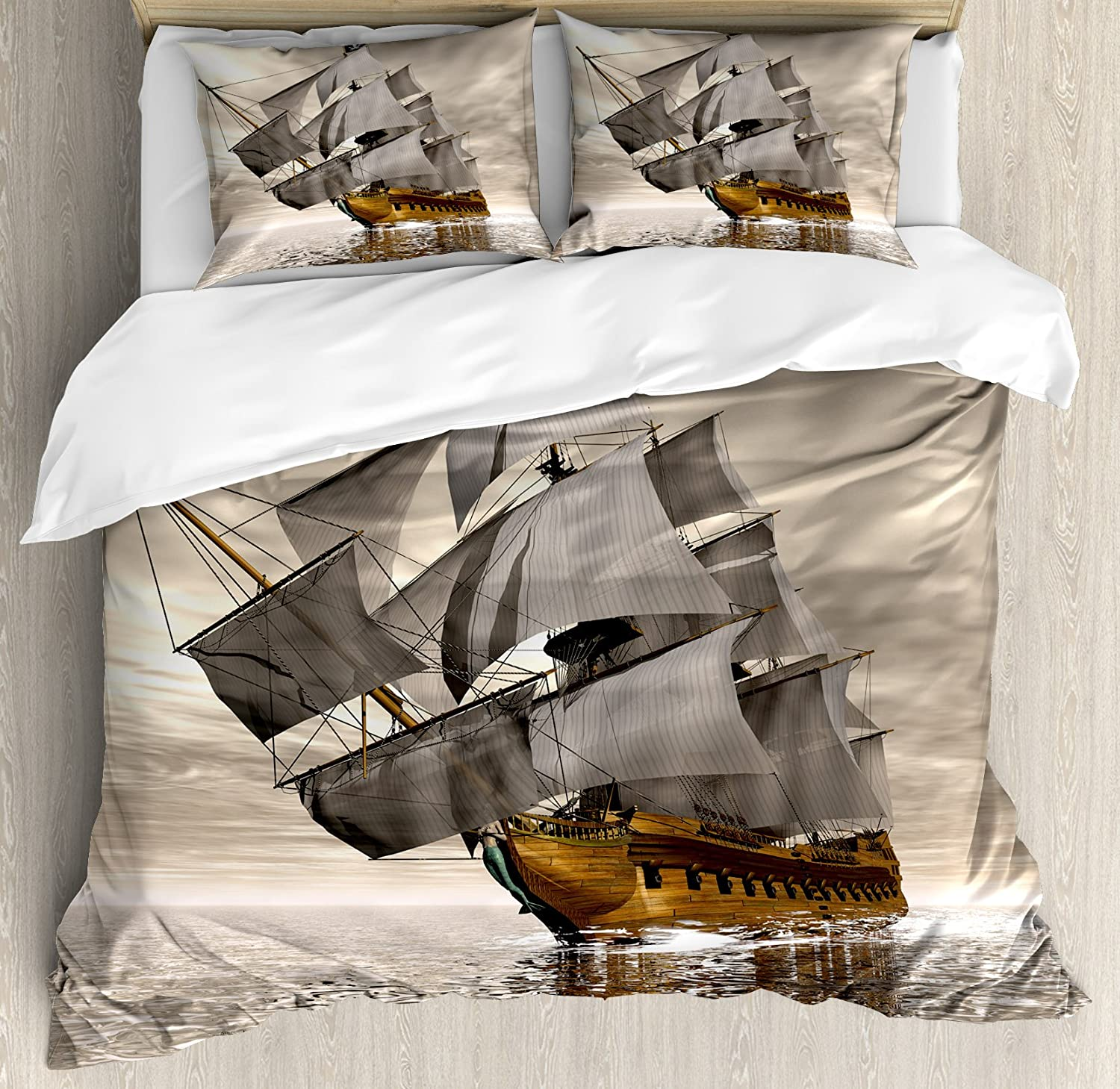 Ambesonne Ocean Spring new work one after another Duvet Cover Set 3D Ship Style Sea Histor Ranking TOP19 Pirate