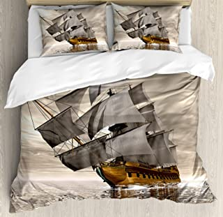Ambesonne Ocean Duvet Cover Set Queen Size, 3D Style Pirate Ship Sea Historic Vessel Cloudy Sky Voyage Exploration Theme, Decorative 3 Piece Bedding Set with 2 Pillow Shams, Grey Pale Coffee