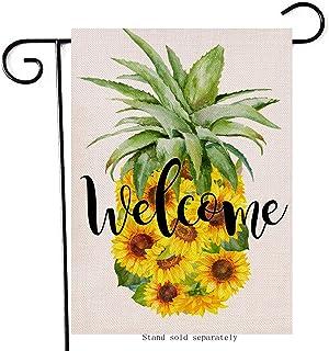 Artofy Honey Bee Gnome Home Decorative Garden Flag, Spring Summer House Yard Sunflower Honeycomb Decor Outside Lawn Welcom...