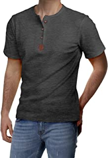 H2H Mens Casual Slim Fit Henley Shirts Short Sleeve Waffle Fabric