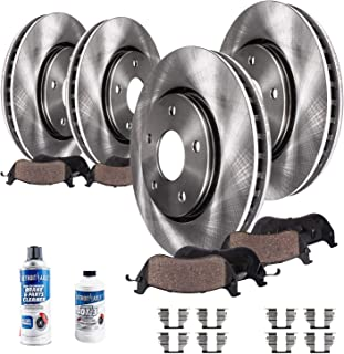 Detroit Axle - All (4) Front and Rear Disc Brake Rotors w/Ceramic Pads w/Hardware & Brake Cleaner & Fluid for 2001-2007 Ford Taurus - [1995-2002 Lincoln Continental] - 2001-2005 Mercury Sable