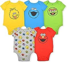 Sesame Street Boy's 5-Piece Short Sleeve Baby Bodysuit Onesie Multi-Colored Set