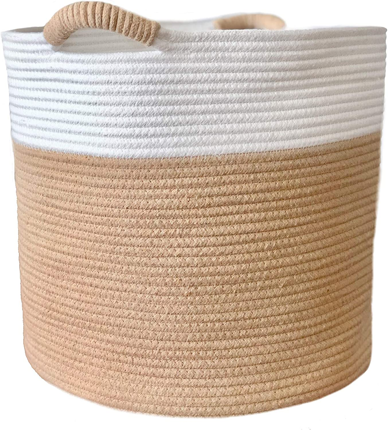 Cotton Rope Woven Storage Deluxe Basket Organic Large 15x15x14 NEW before selling Inches