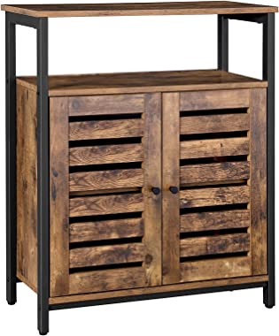 VASAGLE LOWELL Standing Cabinet, Storage Cabinet, Accent Side Cabinet with Shelf, Cupboard with Louvered Doors, Multifunctional in Living Room, Hallway, Industrial Design, Rustic Brown ULSC76BX