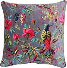 Riva Paoletti Paradise Square Cushion Cover - Mink Purple - Colourful Bird Print - Faux Velvet Fabric - Machine Washable -...