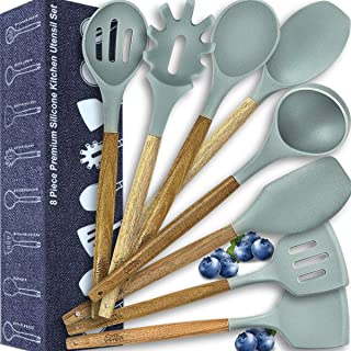Kitchen Utensil Set-Silicone Cooking Natural Wooden Spoons-Cooking Tools for Nonstick Cookware-Kitchen Gadgets,Turners Spatulas Ladle Pasta Sever(BPA Free,Non Toxic), Holiday Kitchen Christmas Gifts