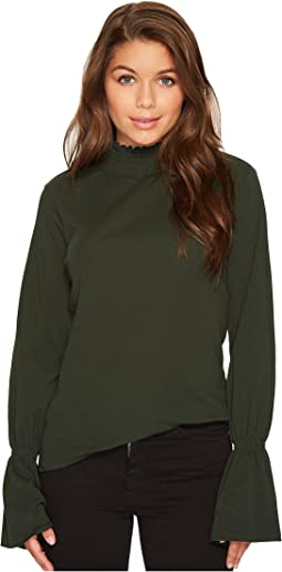 Blank NYC - Green Turtleneck with Belle Sleeves in Green Pastures