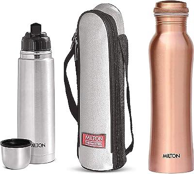 Milton Thermosteel Flip Lid Flask, 1000 millilitres, Silver & Copperas 1000 Copper Bottle, 920 ml, 1 Piece, Copper Combo