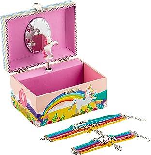 Kids Unicorn Musical Jewellery Box Girls Gift Plus Mum and Daughter Bracelet Set, 3 Rainbow Unicorn Gifts For Girls, Daugh...