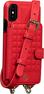Sena Isa Crossbody Leather Wallet Snap On Cell Phone Case for iPhone X, XS - Hands Free Drop Safe Technology, Red