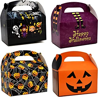 48 3D Halloween Cardboard Trick or Treat Boxes Haunted House Gable Boxes for School Classroom Party Favor Supplies Spider Web Witches Legs Jack-o-Lantern Pumpkin Candy Goodie Cookie Box Gift Boutique
