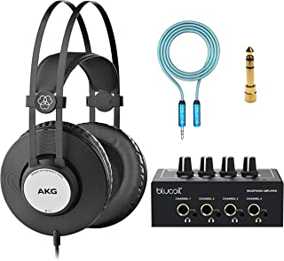 AKG Pro Audio K72 Over-Ear Closed-Back Studio Headphones for Smartphones, Tablets, Computers, and Mixers Bundle with Bluco...