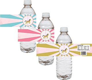 Carousel Party Water Bottle Labels - Girl Birthday Baby Shower Sticker - Set of 12
