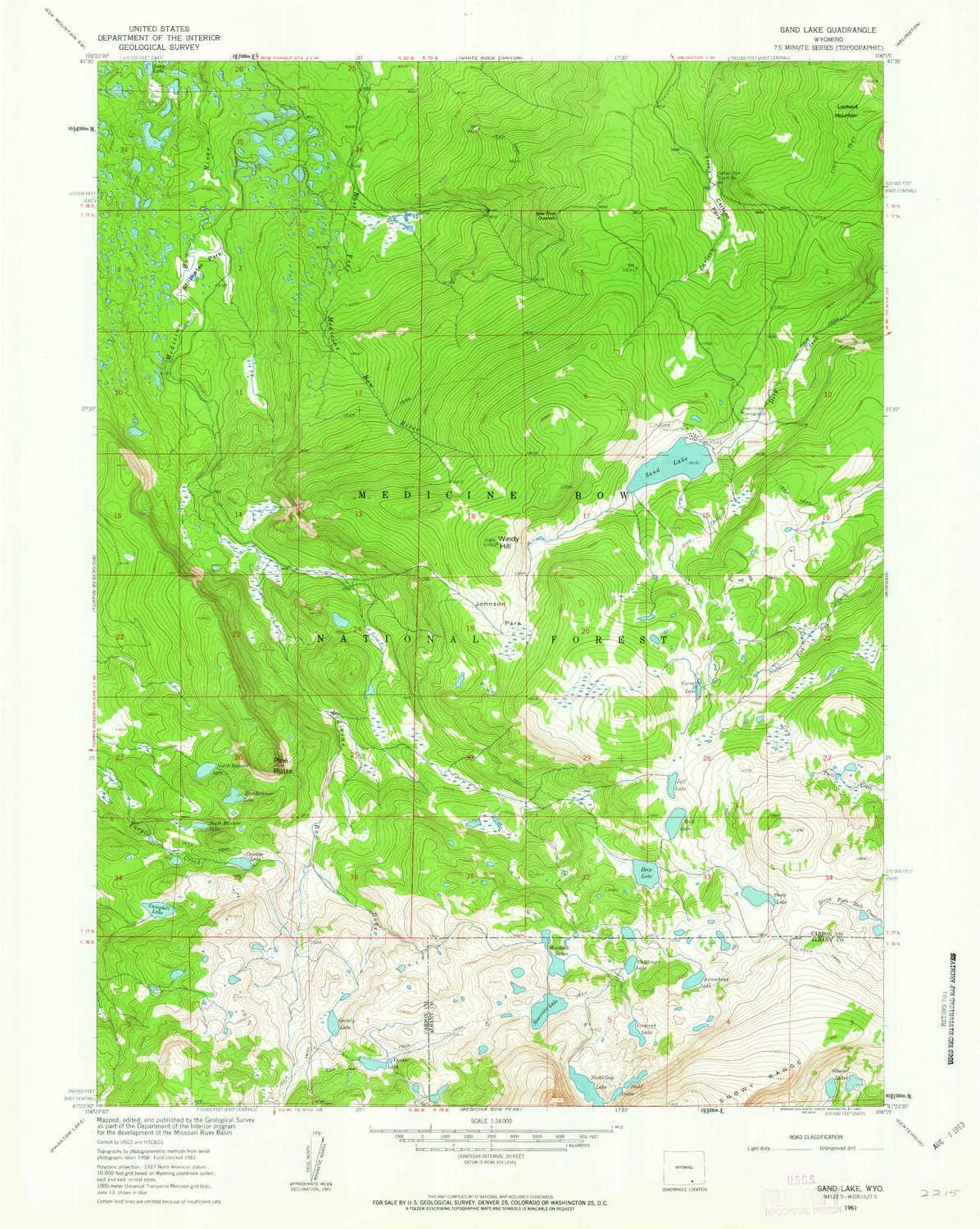 Cash special price YellowMaps Sand Lake WY topo map Large discharge sale 1:24000 7.5 Scale X Minut