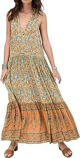 R.Vivimos Women Summer Sleeveless Floral Print Button Up Bohemian Flowy Maxi Dresses