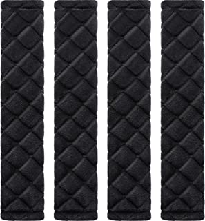 Tatuo 4 Pack Car Seat Belt Pads Seatbelt Protector Soft, Black, Size No Size