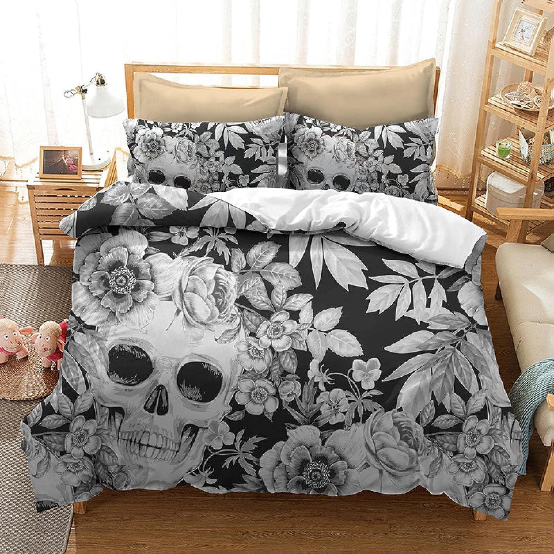 Direct store GNNSITT Queen Houston Mall Duvet Cover Skull 170x220cm Leaves C Flowers