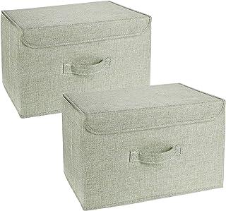 DIMJ Lot de 2 Boites de Rangement Lavable, Rangement de Vetement Pliable, Caisse de Rangement en Tissu avec Couvercles et ...