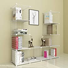 JOISCOPE Bookshelf with Multi-function Space-saving 12 Cubes White Metal Organizer Wire Shelves Cubes Storage Portable Sto...