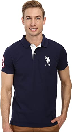 Slim Fit Big Horse Polo w/ Stripe Collar