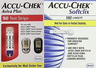 ACCU-CHEK Aviva Plus Test Strips 1 Box of 50 Count,Accu-Chek Soft Clix Lancets, 1 Box of 100 Count Bundle