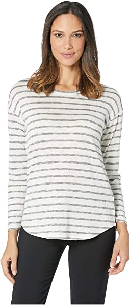 Long Sleeve Breezy Simple Stripe Drop Shoulder Top