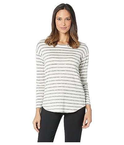 TWO by Vince Camuto Long Sleeve Breezy Simple Stripe Drop Shoulder Top (Grey Heather) Women
