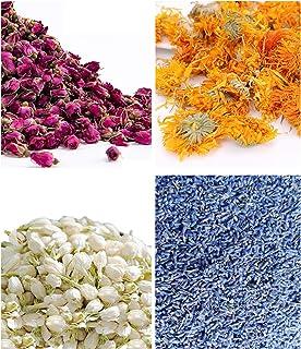 أزهار جافة 250 جرام - 4 عبوات من أجل صناعة الشمع، صناعة الزيت، صناعة الصابون، مجموعة الشاي الصالحة للأكل من الياسمين، برعم...