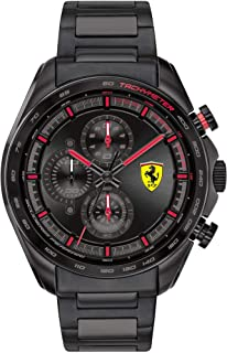 Ferrari Men's SPEEDRACER Quartz Watch with Stainless Steel Strap, Black, 20 (Model: 0830654)