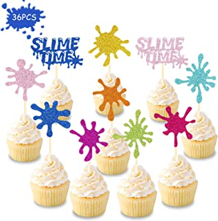 36 Pcs Slime Cupcake Toppers for Art Themed Party Colorful Glitter Slime Queen Baby Shower Painting Birthday Graffiti Home Events Party Decorations Supplies