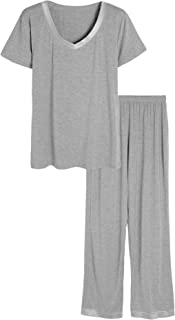 Women's V-Neck Sleepwear Short Sleeves Top with Pants Pajama Set