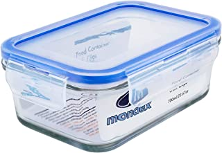 Mondex 700ml Rectangular Glass Food Storage Container with Blue Lid, CMN0096