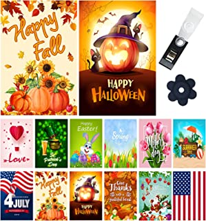 Yileqi Seasonal Garden Flags Set of 12 Double Sided 12.5x18 Inch Valentine's Day Spring Garden Flag for Outdoor Decoration...