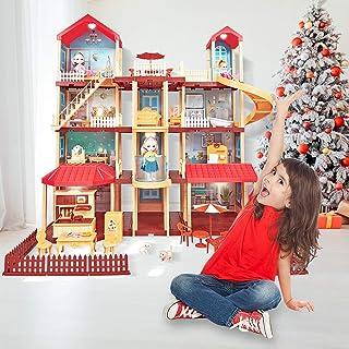 ORILEDA Dollhouse Kit, Dreamhouse, Miniature Dollhouse Kit, Princess Dollhouse with Furniture, Accessories, Elevator and Sky Garden, Dollhouse for Girls, Toddler Girls and Kids' Toy with Accessories