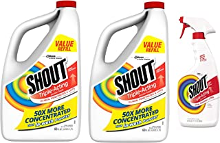 Shout 60 Oz Triple-Acting Liquid Refill (Pack of 2) Made in USA + FREE Laundry Stain Remover