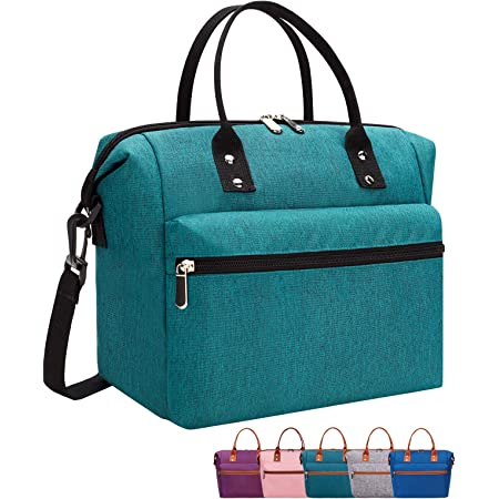 Leakproof Insulated Lunch Tote Bag with Adjustable & Removable Shoulder Strap, Durable Reusable lunch Box Container for Women/Men/Kids/Picnic/Work/School-Dark Green