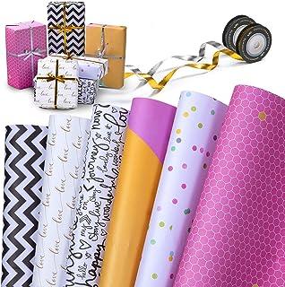 MOOKLIN ROAM Papier Cadeau de Kraft, Lot de 6 Papier d'emballage en Recto-Verso avec 2 Rubans, 70 x 50 cm (12 Désign, Plié)