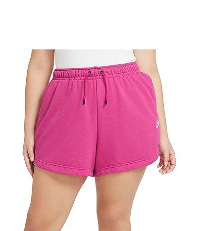 Nike Plus Size NSW Essential Shorts French Terry (Fireberry/Heather/White) Women