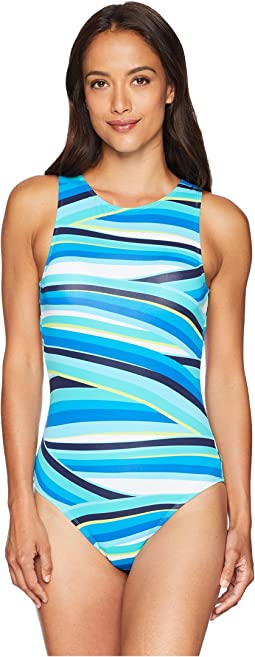 Tommy Bahama Windingwave Hi Neck Scoop Back One-Piece