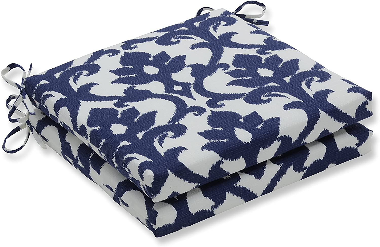 Pillow Perfect Indoor Outdoor Bosco Squared Seat Cushion, Navy, Set of 2, bluee, 20 in. L X 20 in. W X 3 in. D