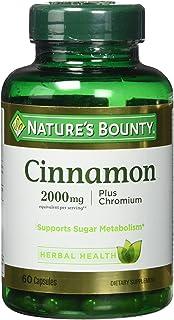 Nature's Bounty Cinnamon 2000mg Plus Chromium, Dietary Supplement, 60 Capsules
