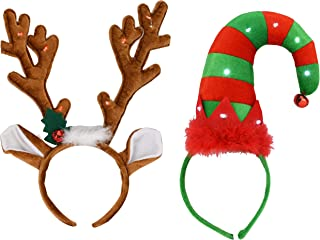 EDS Costumes Christmas Flashing Red Light Up Elf Hat Headband And Antlers (2 pack)