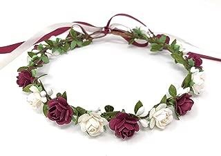Daddasprincess Flower crown wedding headpiece bridal headband hair wreath (Burgundy and white)