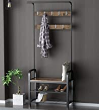 Allewie Coat Rack, Shoe Bench, Hall Tree with Storage Shelf for Entryway, Industrial Accent Furniture with Steel Frame, 3-...