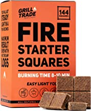 GrillTrade Fire Starter Squares 144, Easy Burn Your BBQ Grill, Camping Fire, Wood Stove, Smoker Pellets, Lump Charcoal, Fireplace - Fire Cubes are The Best Barbeque Accessories - 100% All Natural