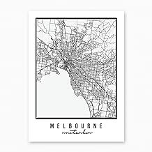 Melbourne Australia Street Map Black and White Print, Unframed