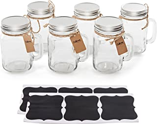 6 Pack - Vintage Mason Jar Mugs with Chalkboard Labels and Tin Lids, Mason Mugs with Handles for Weddings, Candle Jars, Party Favors, 16oz, by California Home Goods
